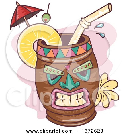 Clipart of a Tiki Cocktail Mug - Royalty Free Vector Illustration by BNP Design Studio