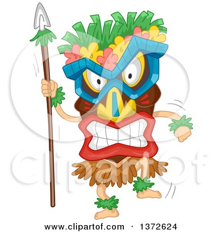 Clipart Of A Tropical Tiki And Torches With Bamboo Coconut