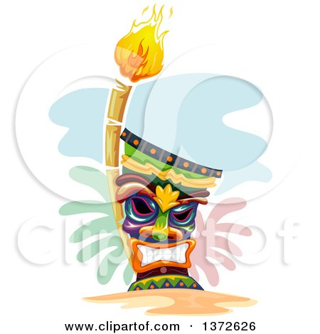 Clipart of a Grinning Tiki and Torch - Royalty Free Vector Illustration by BNP Design Studio