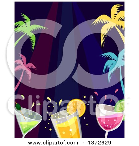 Clipart of a Border of Colorful Palm Trees and Cocktails - Royalty Free Vector Illustration by BNP Design Studio