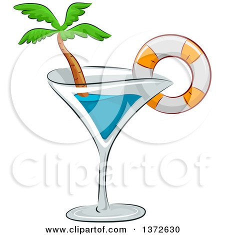 Clipart of a Cocktail Glass with a Life Buoy and Palm Tree - Royalty Free Vector Illustration by BNP Design Studio