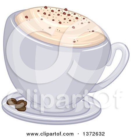 Clipart of a Frothy Cup of Cappuccino Coffee and Beans on a Saucer - Royalty Free Vector Illustration by BNP Design Studio