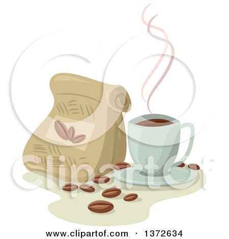 Clipart of a Cup of Hot Coffee by a Bag of Beans - Royalty Free Vector Illustration by BNP Design Studio