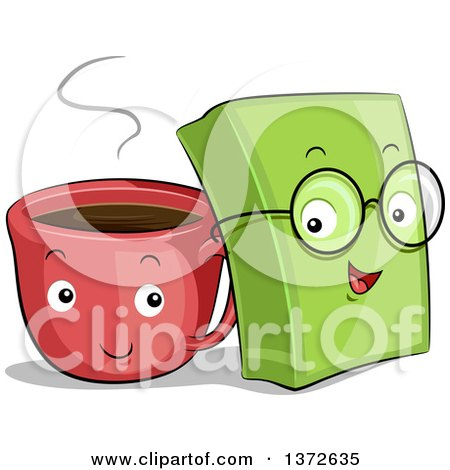 Clipart of Happy Coffee Cup and Book Characters - Royalty Free Vector Illustration by BNP Design Studio