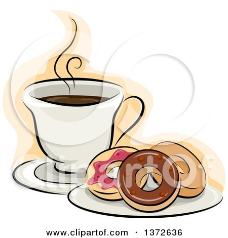 Clipart of a Plate of Donuts and Hot Coffee - Royalty Free Vector Illustration by BNP Design Studio