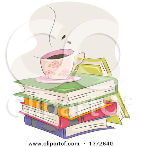 Clipart of a Hot Floral Coffee Cup on a Stack of Books - Royalty Free Vector Illustration by BNP Design Studio