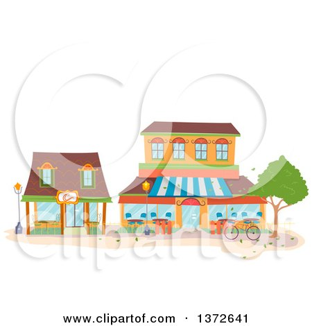 Clipart of Coffee Shop Buildings - Royalty Free Vector Illustration by BNP Design Studio