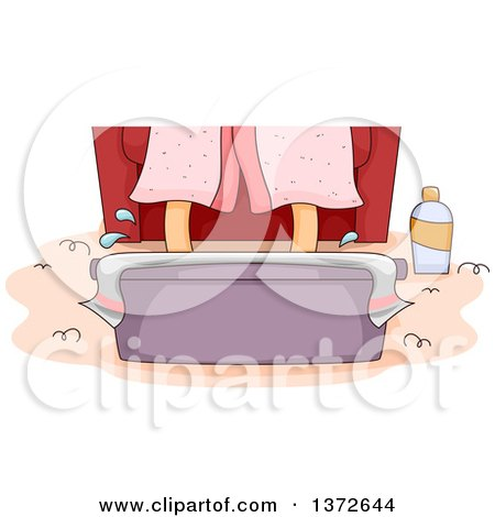 Clipart of a Womans Feet Soaking in a Tub - Royalty Free Vector Illustration by BNP Design Studio