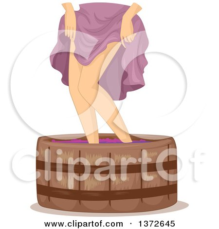 Clipart of a Woman Holding up Her Skirt and Stomping Wine Grapes - Royalty Free Vector Illustration by BNP Design Studio