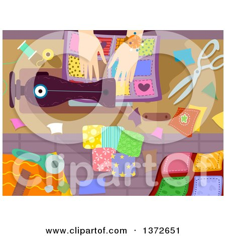 Clipart of a Woman's Hands Sewing a Quilt - Royalty Free Vector Illustration by BNP Design Studio