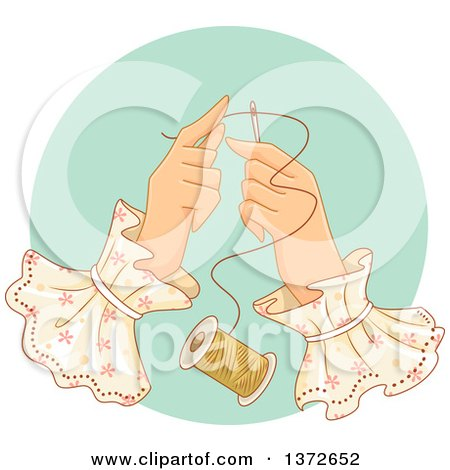 Clipart of a Woman's Hands Threading a Needle - Royalty Free Vector Illustration by BNP Design Studio