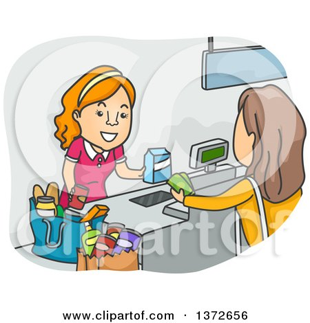 Clipart of a Cartoon White Female Shopper at a Grocery Store Cash Register - Royalty Free Vector Illustration by BNP Design Studio