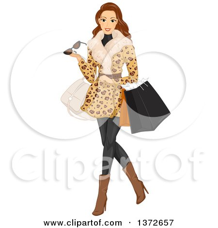 Clipart of a Brunette White Woman Wearing a Fur Coat and Shopping - Royalty Free Vector Illustration by BNP Design Studio