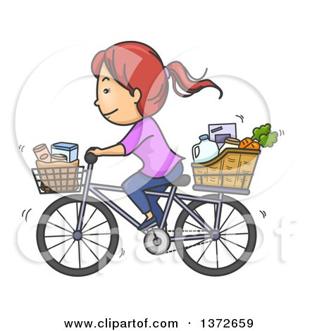 Clipart of a Cartoon Red Haired White Woman Riding a Bicycle with Groceries in Baskets - Royalty Free Vector Illustration by BNP Design Studio