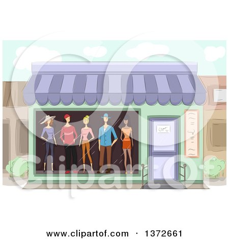 Clipart of a Boutique Store Front with Mannequins in the Window - Royalty Free Vector Illustration by BNP Design Studio