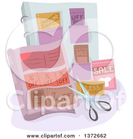 Clipart of a Pair of Scissors and Coupons - Royalty Free Vector Illustration by BNP Design Studio