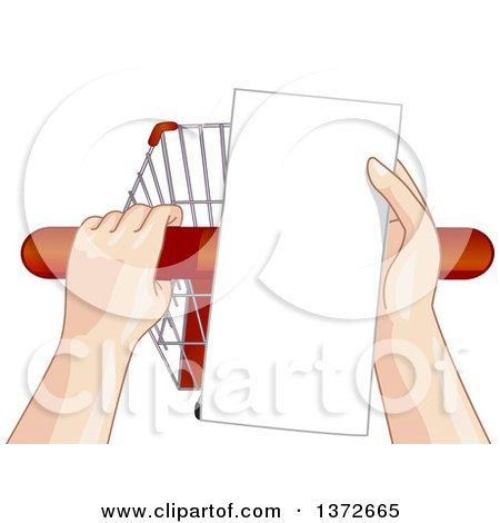 Clipart of a Persons Hands Holding a Shopping Cart Handle and List - Royalty Free Vector Illustration by BNP Design Studio