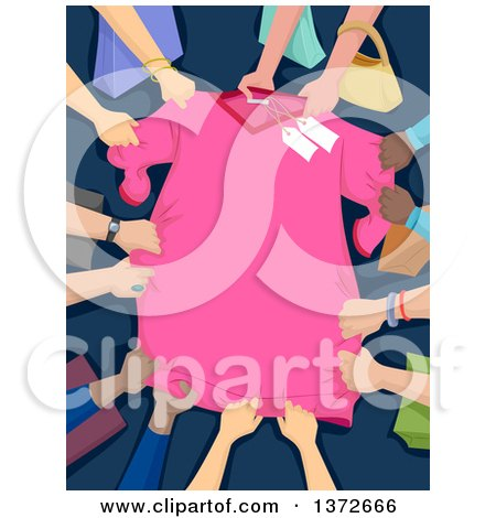 Clipart of a Pink Discounted Shirt Being Grabbed by Many Shoppers - Royalty Free Vector Illustration by BNP Design Studio