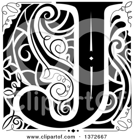 Clipart of a Black and White Vintage