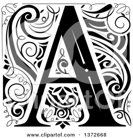 Clipart of a Black and White Vintage Letter a Monogram - Royalty Free Vector Illustration by BNP Design Studio