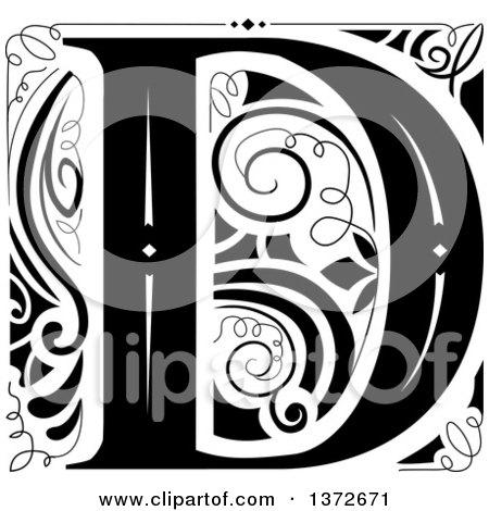 Clipart of a Black and White Vintage Letter D Monogram - Royalty Free Vector Illustration by BNP Design Studio