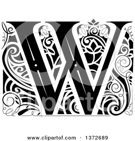 Clipart of a Black and White Vintage Letter W Monogram - Royalty Free Vector Illustration by BNP Design Studio