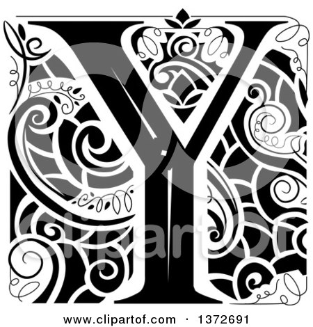 Clipart of a Black and White Vintage Letter Y Monogram - Royalty Free Vector Illustration by BNP Design Studio