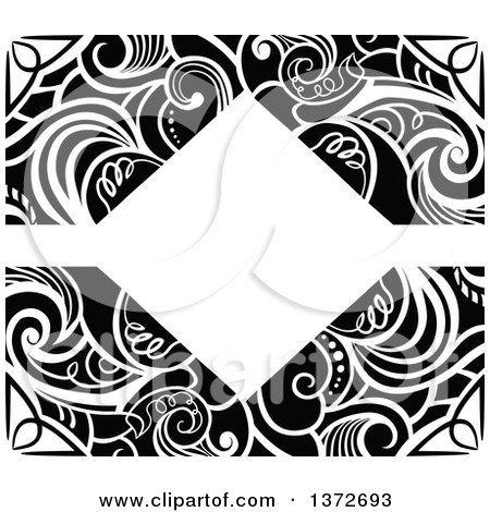 Clipart of a Black and White Vintage Swirl Floral Frame - Royalty Free Vector Illustration by BNP Design Studio