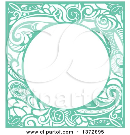 Clipart of a Green Vintage Swirl Floral Frame - Royalty Free Vector Illustration by BNP Design Studio