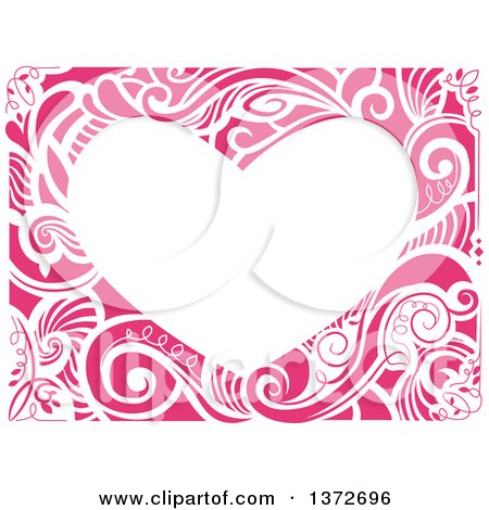 Clipart of a Heart Shaped Floral Frame - Royalty Free Vector Illustration by BNP Design Studio