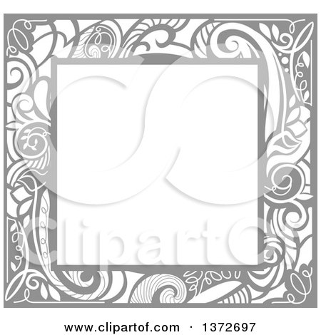 Clipart Of A Gray Vintage Swirl Floral Frame Royalty Free Vector Illustration