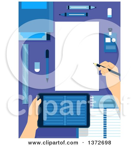 Clipart of Hands Holding a Tablet Computer and Writing Notes on a Desk - Royalty Free Vector Illustration by BNP Design Studio