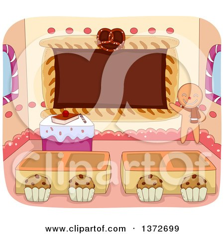 Clipart of a Gingerbread Man Teacher with a Class Room of Pastries - Royalty Free Vector Illustration by BNP Design Studio