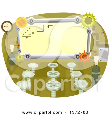 Clipart of a Classroom with Gear Cog Wheels - Royalty Free Vector Illustration by BNP Design Studio