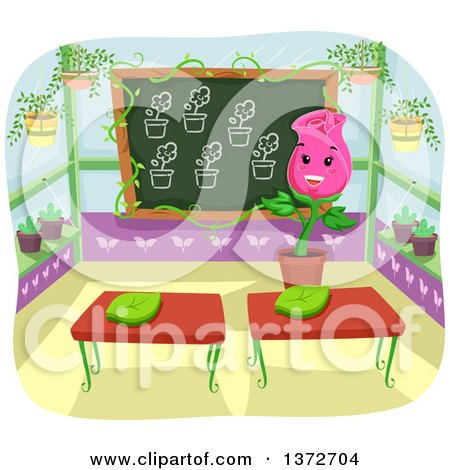 Clipart of a Happy Rose Flower Teacher in a Green House Class Room - Royalty Free Vector Illustration by BNP Design Studio