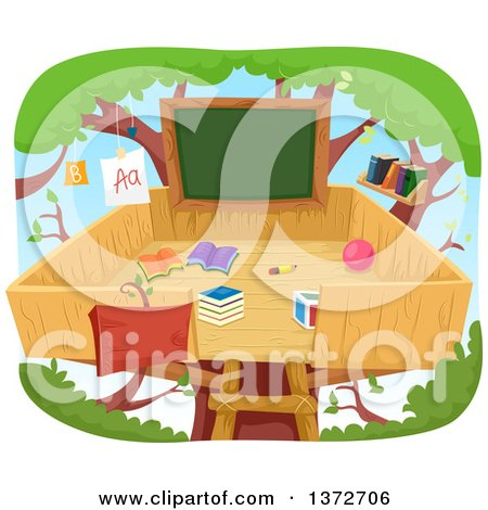 Clipart of a Tree House Class Room with a Chalkboard - Royalty Free Vector Illustration by BNP Design Studio