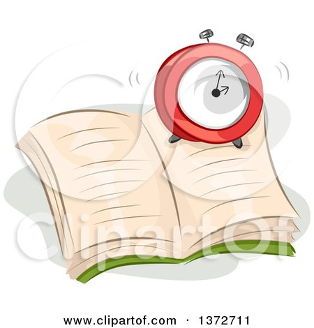 Clipart of a Ringing Alarm Clock on an Open Book - Royalty Free Vector Illustration by BNP Design Studio