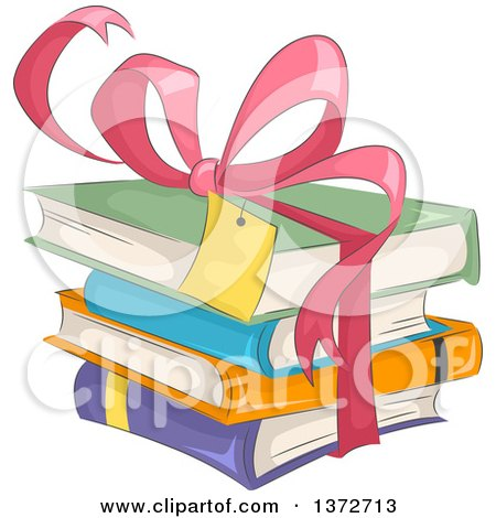 Clipart of a Pink Gift Bow and Ribbon Around a Stack of Books - Royalty Free Vector Illustration by BNP Design Studio