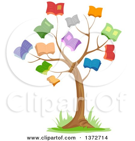Clipart Of A Tree With Book Foliage Royalty Free Vector Illustration