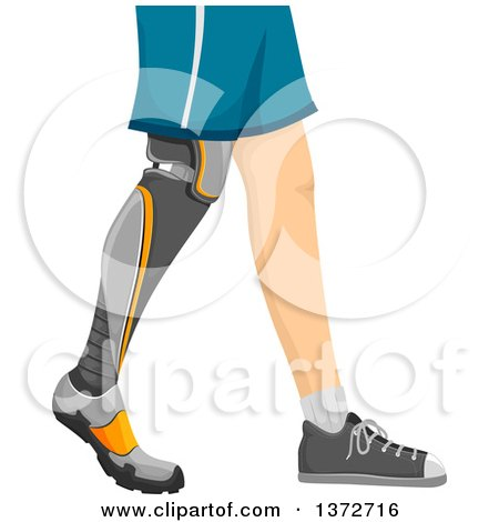 Clipart of a Man, Shown from the Hips Down, Walking with a Prosthetic Leg - Royalty Free Vector Illustration by BNP Design Studio