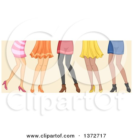 Clipart of a Group of Women, Shown from the Hips down - Royalty Free Vector Illustration by BNP Design Studio