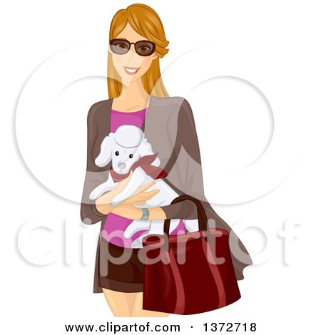 Clipart of a Happy Dirtly Blond White Woman Wearing Sunglasses and Carrying a Poodle - Royalty Free Vector Illustration by BNP Design Studio