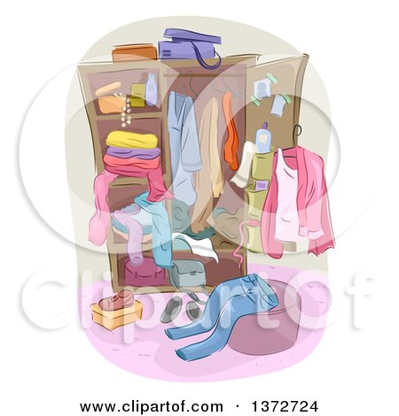 Clipart of a Wardrobe Closet with Apparel - Royalty Free Vector Illustration by BNP Design Studio