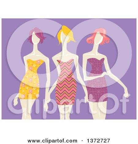 Clipart of Models Wearing Patterned Dresses, over Purple - Royalty Free Vector Illustration by BNP Design Studio
