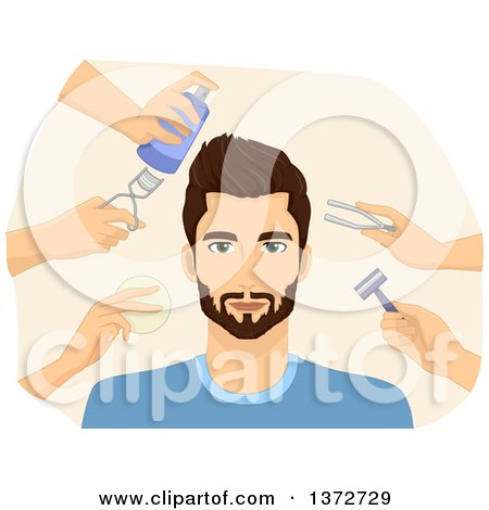 Clipart of a Metrosexual Man Being Groomed by a Team - Royalty Free Vector Illustration by BNP Design Studio