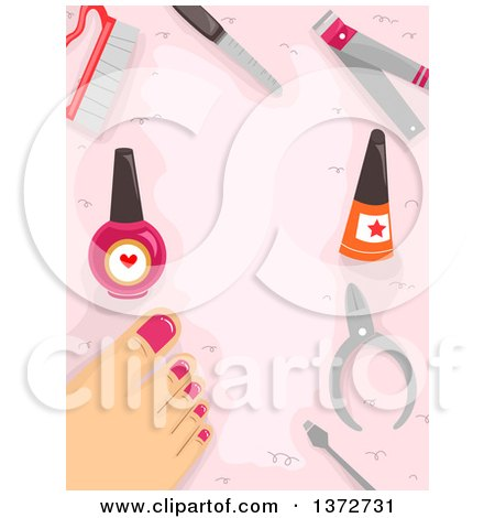 Clipart of a Woman's Foot with Tools and Nail Polish - Royalty Free Vector Illustration by BNP Design Studio