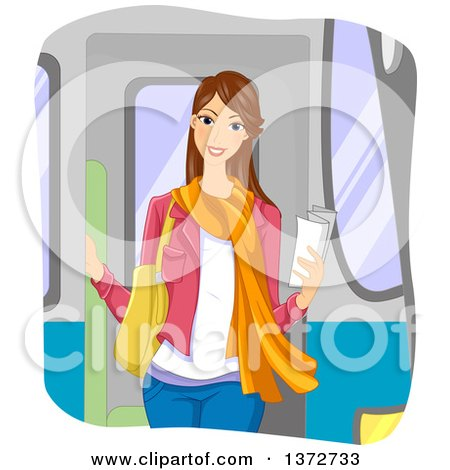 Clipart of a Happy Young Brunette White Woman Holding a Piece of Paper on a Train - Royalty Free Vector Illustration by BNP Design Studio