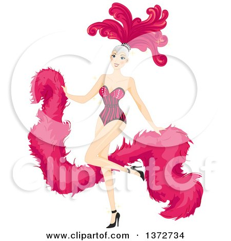 Clipart of a Blond White Woman Dancing in a Pink Cabaret Costume - Royalty Free Vector Illustration by BNP Design Studio