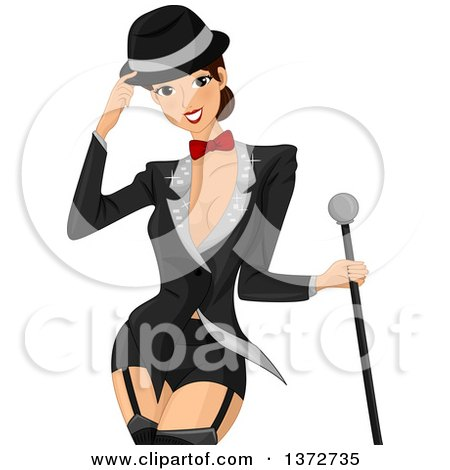 Clipart of a Woman Wearing a Cabaret Tuxedo Outfit - Royalty Free Vector Illustration by BNP Design Studio