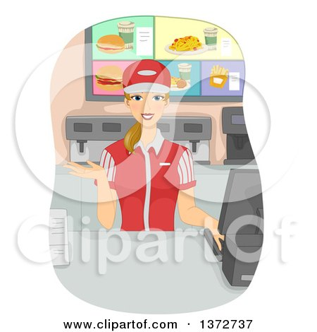 Clipart of a Young Blond White Woman Working As a Cashier in a Fast Food Joint - Royalty Free Vector Illustration by BNP Design Studio